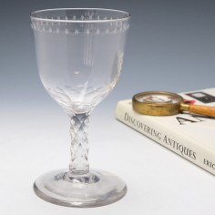 Facet Cut Stem Georgian Wine Goblet c1780