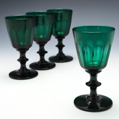 Set of Four Bristol Green Wine Glasses c1835