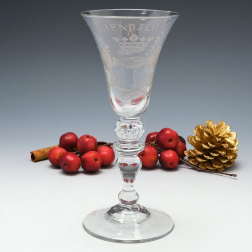 Dutch Engraved Baluster Wine Glass c1745