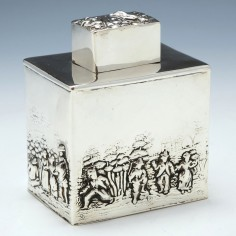 Repousse Silver Tea Caddy Chester 1909