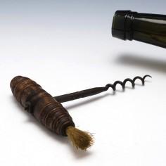 Turned Hardwood Handled Pull Corkscrew with Brush c1890