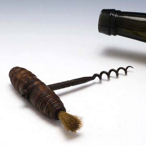 Turned Hardwood Handled Pull Corkscrew with Brush c1890