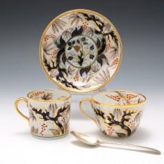 John Rose Coalport Candlelight Imari Vine Trio c1815 porcelain