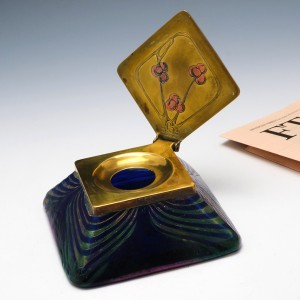 Kralik Art Nouveau Iridescent Glass Inkwell c1910