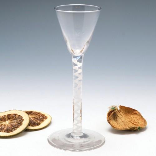 An Opaque Twist Cordial Glass c1800