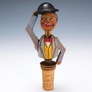 Black Forest Carved Wood Mechanical Gentleman Novelty Bottle Stopper  c1950