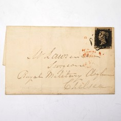Royal Hospital Chelsea Henry Bigg Letter with Penny Black Stamp Dated 1841