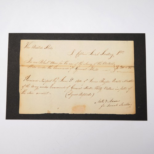 American 1812 War Receipt for a Black Mare for Josiah Snelling