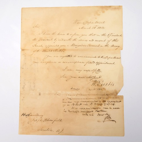 1812 American War Commission Letter from William Eustis to Joseph Bloomfield