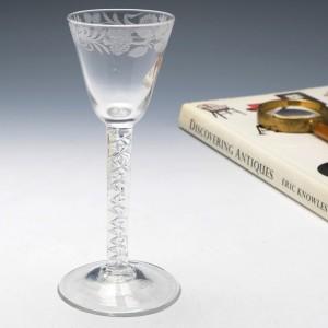 Engraved Mercury Twist Acostic Jacobite Wine Glass c1760