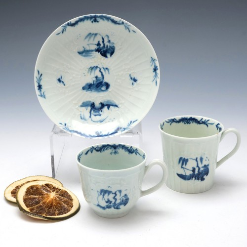 Early Worcester Fisherman and Willow Pavilion Trio Coffee Can With Cup and Saucer c1755-60