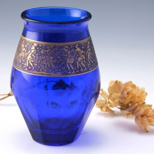 Cobalt Blue Signed Moser Karlsbad  Vase c1920