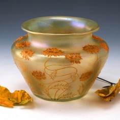 Loetz Enamelled and internally Decorated Lustred Vase c1900