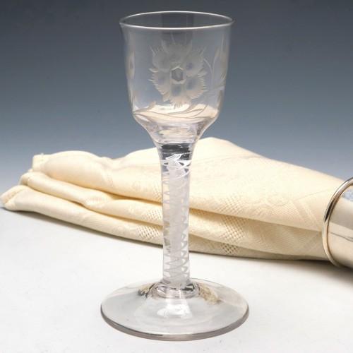 Jacobite Sympathy Opaque Twist Georgian Wine Glass c1760