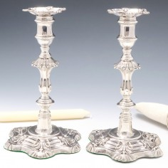 Pair of Silver William IV Candlesticks Sheffield 1835