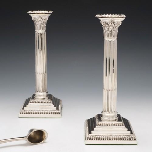 Pair of Sterling Silver Corinthian Candlesticks London1903