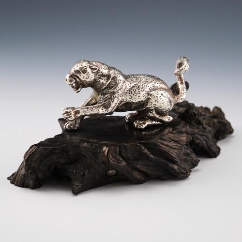 Patrick Mavros Sterling Silver Leopard Sculpture c1995