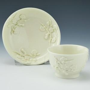 Saint-Cloud Blanc de Chine Teabowl and Saucer c1745