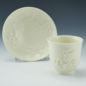 Saint-Cloud Porcelain Blanc de Chine Coffee / Teabowl and Saucer c1740