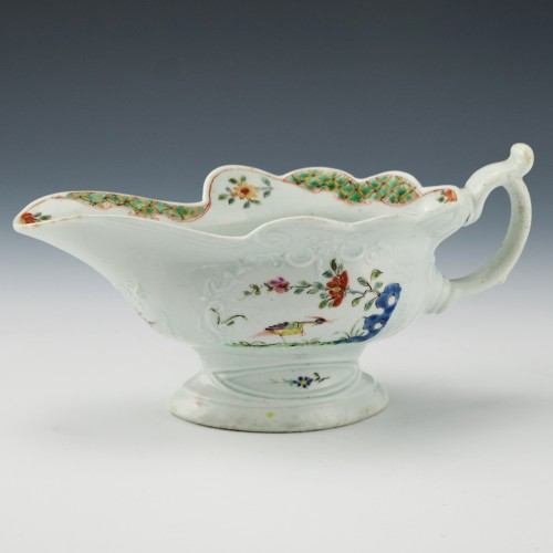 Early Worcester Strutting Birds High Footed Sauceboat c1756