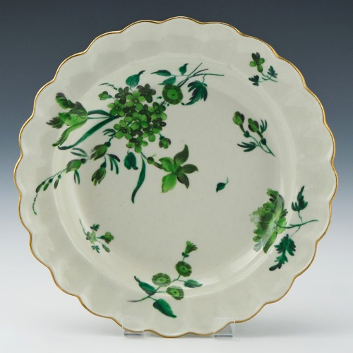 James Giles Decorated Three Tone Green Floral Dessert Plate c1765