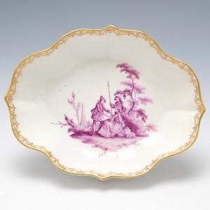 Meissen Quatrefoil Puce Camaieu Dish 1735-40