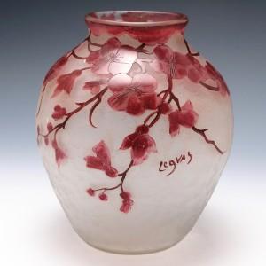 Legras Rubis Series Cherry Blossom Vase c1910