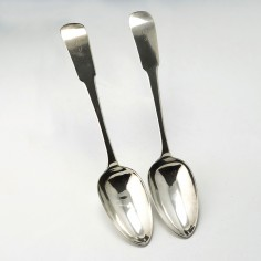 Pair of Scottish Silver Fiddle Pattern Serving Spoons Edinburgh 1820