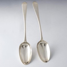 Pair George III Scottish Silver Table Spoons James Hewitt Edinburgh 1783