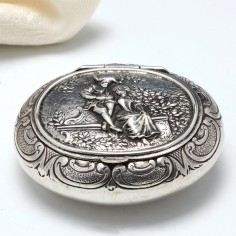 German Silver Snuff Box With Courting Couple  c1860