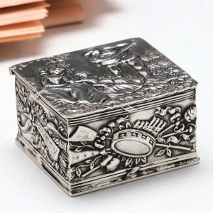 German Repousse Silver Pill Box Hanau c1880
