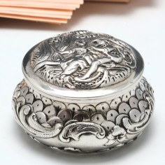 German Silver Repousse Pill Box by Karl Kurz c1890