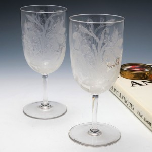 Pair of Victorian Engraved Wine Glasses c1900