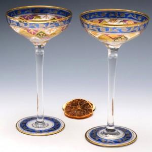 Pair Frirz Heckert Champagne Coupes c1900