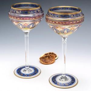 Pair Fritz Heckert wine Glasses c1900