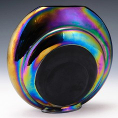 Circular Iridescent and Black Sintered Glass Vase