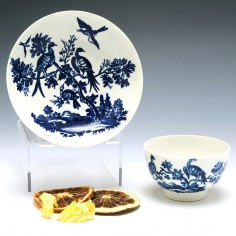 A Worcester porcelain The Birds in Trees Teabowl and Saucer c1780