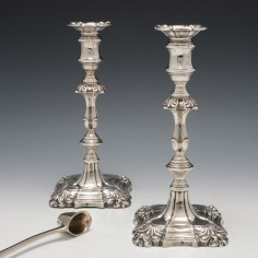 Pair Victorian Cast Sterling Silver Candlesticks London 1893