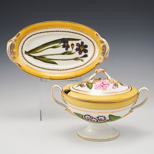 A Derby Duesbury and Kean  Porcelain Botanical Sauce Tureen c1795