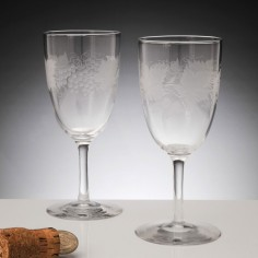 A Pair 19th Century Engraved Wine Glasses