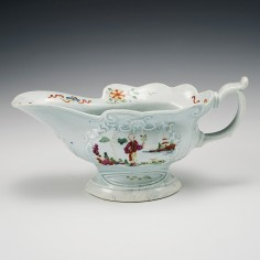 An Early Worcester Porcelain High Footed Sauceboat 1754-58