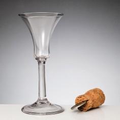 A Fine Bell Bowl Plain Stem Wine Glass c1750
