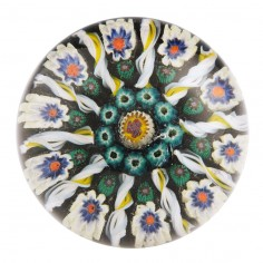 A Vasart or Strathearn Eight Spoke One Row Concentric Complex Central Cane Paperweight c1950-70s