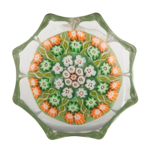 """A Strathearn Ten Spoke Eight Petal Moulded Two Row Concentric 2 7/8"""" Paperweight c1970"""