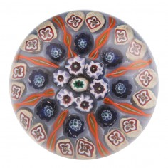 """A Large 3"""" Eight Spoke Vasart Radial Concentric Paperweight c1950"""