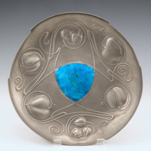 A Pewter and Enamel Bollelin Dish Designed by Archibald Knox c1905