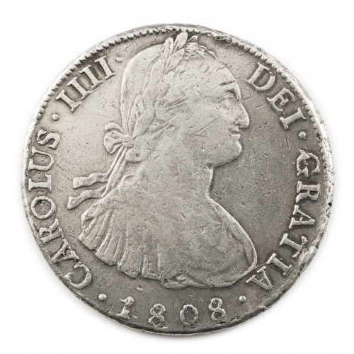 Charles IV Silver 8 Reales (Piece of Eight) 1808, Bolivia Mint
