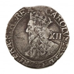 Charles I Silver Shilling Triangle-In- Circle Initial Mark Tower Mint Under the King, 1641-3