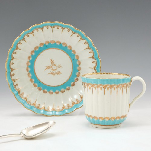 A Worcester First Period Porcelain Coffee Cup and Saucer 1775-80