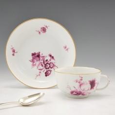 A Meissen Porcelain Tea Cup and Saucer c1770